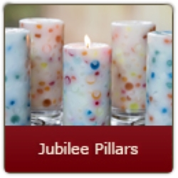 Happy Jubilee Pillar Candle. A delicate blend of perfume fragrances to conjure thoughts of that special someone.