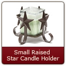Small Raised Star Candle Holder Item #106R - Iron Candle Holder